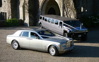 Silver Rolls Royce Phantom with Silver H2 Hummer